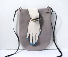 Winter Taupe Wool Cross Body Shoulder Bag Purse with by askidas, $60.00