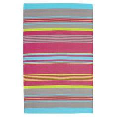 Tapis d'extérieur à rayures en polypropylène multicolore 120 x 180 cm RIO