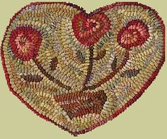 Primitive Spirit Rugs by Karen Kahle. has reminded me I had a hooked rug planned about 2 years ago. Hand Hooked Rugs, Penny Rugs, Karen, Valentines Day Hearts, Pottery Designs, Wool Applique, Punch Needle, Handmade Rugs, Handmade Gifts