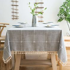 Mokani Washable Cotton Linen Solid Embroidery Checkered Design Tablecloth, Rectangle Table Cover Great for Kitchen Dinning Tabletop Buffet Decoration x 70 Inch, Gray) Linen Tablecloth, Table Linens, Tablecloth Ideas, Tablecloth Decorations, Farmhouse Tablecloths, Kitchen Dinning, Dining Room, Home Decor Accessories, Decorating Rooms