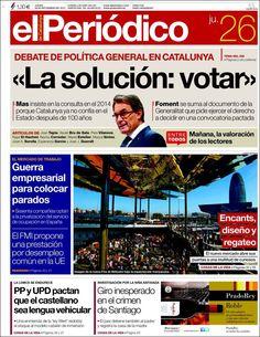 Los Titulares y Portadas de Noticias Destacadas Españolas del 26 de Septiembre de 2013 del Diario El Periódico ¿Que le pareció esta Portada de este Diario Español?