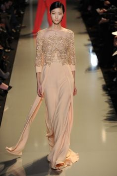 Beaded silk jersey peach gown by Elie Saab Spring 2013 via Flare.com