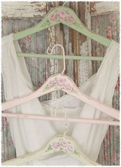 Decorate wooden coat hangers to create a personal one-of-a-kind piece of art just for your special garments. - MRW - Lovely