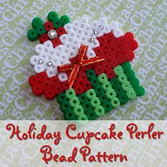 Christmas Holiday Two Layer Frosted Holly Sprig Cupcake Perler / Hama bead pattern. Use these as tree ornaments ornaments by adding some string. Perler Bead Designs, Hama Beads Design, Perler Bead Art, Melty Bead Patterns, Hama Beads Patterns, Beading Patterns, Mosaic Patterns, Loom Patterns, Christmas Perler Beads