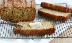 Fantastic banana bread recipe from 'i am baker'. It contains brown sugar and is crazy-moist, and has just a little sticky gooeyness to the top when it bakes.  I think it also tastes great when made with whole wheat flour.