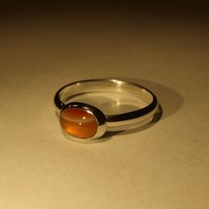 Dainty Sterling Silver bezel ring with Orange by silverdigskeith, $45.00
