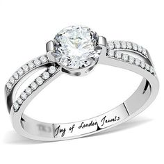 A Perfect .50CT Round Cut Russian Lab Diamond Split Shank Engagement Ring
