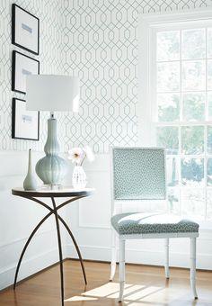 La Farge #wallpaper in Aqua, Darien Chair in Tanzania woven #fabric in Aqua #thibaut