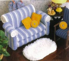 Dolls: Couch. Pattern is crochet, but would work with fabric as well.