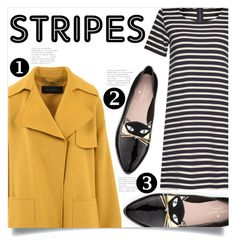"""Stripes"" by aanchal-w ❤ liked on Polyvore featuring Barbara Bui, French Connection, Kate Spade, yellow, stripes, cat and polyvoreeditorial"