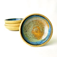 Down by the Seashore - set of 4 small , handmade ceramic bowls by GlazedOver on Etsy