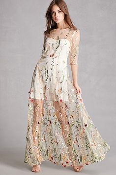 Product Name:Embroidered Floral Mesh Dress, Category:dress, Mesh Embroidered Dress from New York by Dor L'Dor Mesh Dress, Sheer Dress, Dress Up, Sheer Embroidered Dress, Dress Long, Dress Skirt, Embroidery Fashion, Embroidery Dress, Garden Embroidery