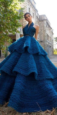 27 Colourful Wedding Dresses For Non-Traditional Bride ❤ colourful wedding dresses ball gown navy simple saidmhamad #weddingforward #wedding #bride