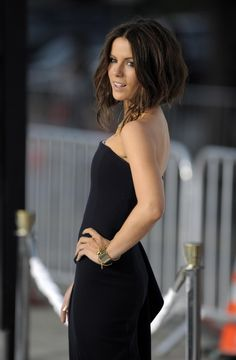 Kate Beckinsale. Love the angled bob but maybe not as long in the front.
