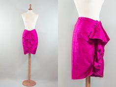 1990s ARMANI silk shocking pink / frills shantung silk skirt / nineties eighties / size S M by MyLoftVintage on Etsy