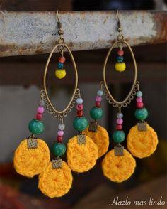 Aros tejidos   Feria Central #aros #crochet