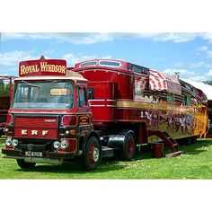Royal Windsor ERF tractor unit and living wagon beautifully restored by Carters Vintage Motorhome, Vintage Campers, Circus Circus, Gypsy Wagon, Fun Fair, Classic Trucks, Camper Van, Motors, Tractors
