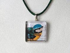 Adorable Vintage Style Blue Bird - Glass Tile Necklace