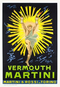 Vermouth Bianco poster by Cappiello Leonetto / 1958 - man jumping out of sun - Martini & Rossi