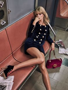 ALL THE TRIMMINGS: Julia Stegner by Chris Colls for The Edit october 2016 #velvet #Gucci #subway