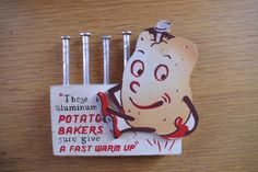 Vintage 1950s set of 6 Baked Potato Spikes with Wooden Stand Featuring an Anthropomorphic Potato by Poldson Gifts by retrowarehouse on Etsy