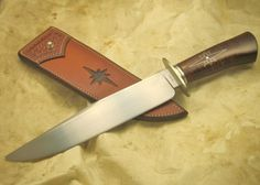 Hand Forged Bowie w/ Silver Wire Inlay. Custom Knives by Allen Newberry
