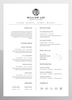 a simple, clean, minimal and professional design of Resume/CV template for people who want to present themselves as a professional.