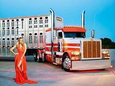 Chrome and Elegance Big Rigs and Fashion 2015 Calendar on Behance Big Rig Trucks, Semi Trucks, Peterbilt 379, Peterbilt Trucks, Trucks And Girls, Car Girls, Cattle Trailers, Train Truck, Road Train