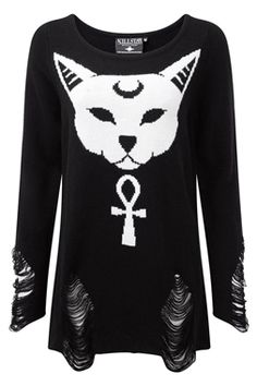Purrfect Knit Sweater on attitude clothing Gothic Outfits, Emo Outfits, Cute Outfits, Pretty Outfits, Estilo Rock, Grunge, Gothic Fashion, Dark Fashion, Pagan Fashion