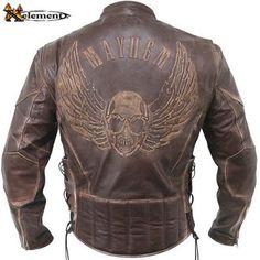 Xelement B96200 Distressed Embossed Premium Cowhide Leather Motorcycle  Jacket 0db6cb37c60c