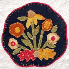 Primitive Autumn Flowers Penny Rug Pattern