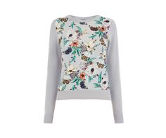 Oasis, Forest print jumper Pale Grey