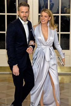 Revealing: Blake Lively showed off her stunning figure - and her Spanx - as she accompanied husband Ryan Reynolds to the state dinner Canadian Prime Minister Justin Trudeau on Thursday