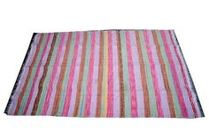 THIS RUG IS CREATED FROM STRIPS OF RECYCLED SARIS, AND STITCHED WITH MATCHING THREAD.  EACH RUG IS UNIQUE - EACH RUG IS MULTI-COLOURED.  THIS RUG IS WONDERFUL USE AS MAT , PICNIC , TRAVELING ,PARTY.HOME DECORATION..  -CARE :HAND WASH IN COLD WATER