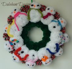 Check out this item in my Etsy shop https://www.etsy.com/uk/listing/256513140/snowman-wreath-snowman-pom-pom-wreath