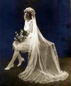 WWI saw much simpler styles. Hem lines got shorter, tightly laced corsets gave way to the drop-waisted, shapeless bodice dresses of the 1920's. With the introduction of fashionista Coco Channel's first white knee-length gown,