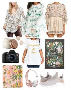 """Christmas Haul"" by ahdorable ❤ liked on Polyvore featuring Free People, Kimchi Blue, Kendra Scott, Rifle Paper Co, Beats by Dr. Dre, Eos and Capri Blue"