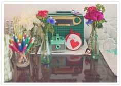 vintage camera and radio decor