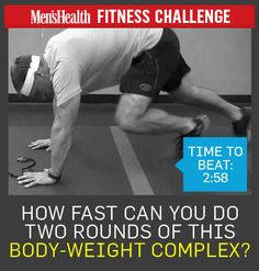 Try this tough (but awesome!) fitness challenge from our friends @Men's Health ! See how fast you can do two rounds of this bodyweight complex. The time to beat: 2 minutes and 58 seconds. The moves to do: http://www.menshealth.com/deltafit/ultimate-body-weight-complex