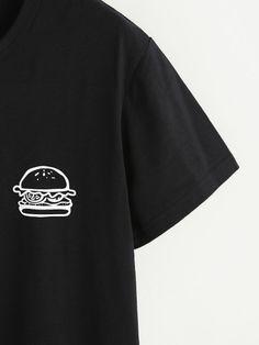 Hamburger Print Tshirt -SheIn(Sheinside)