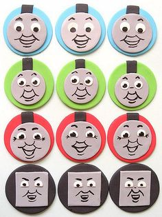 when i was asked to make thomas the tank engine cupcake toppers i thought that little faces on their tank colours would look really cute, later i saw that bev had made ones similar already *damn* ;D ! i had to post these to queensland so after a ton of bubble wrap hopefully they make it there ok ... *eek*