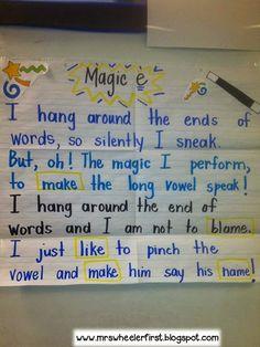 "Magic ""E"" Poem & Activities (from Mrs. Wheeler's First Grade)"