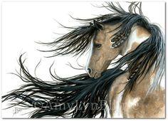 Majestätische Pferde Pinto Geist Paint Native Federn  Fine
