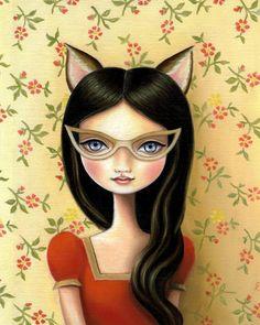 Girl kitten cat bandit art print
