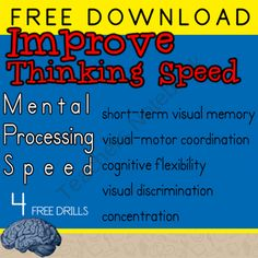 Improve Mental Processing Speed | Therapeutic Activity ---- FREE VERSION from Selma Dawani Educational Therapy on TeachersNotebook.com (6 pages) - Mental processing speed is very important. Helping your student increase processing speed is worth the effort. Processing influences auditory comprehension, perceptual organization, planning and learning ability. Following auditory directions, completin