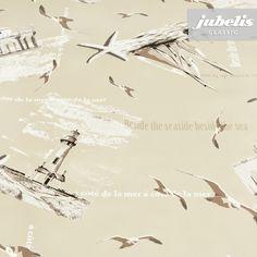 jubelis® Wachstuch mit Vliesrücken Seaside Strand sand beige