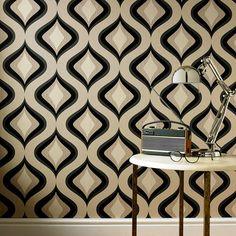 Trippy Black Wallpaper - Retro Wall Coverings by Graham  Brown Would make a great zentangle-like pattern - MU