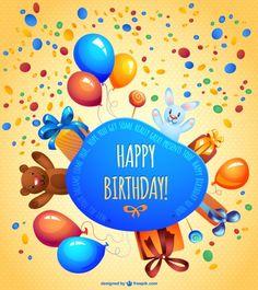 Cute birthday card free design Free Vector