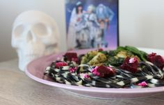 Beetlejuice inspired striped pasta for your Halloween party food ideas!