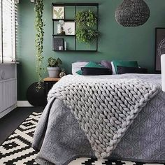 Extraordinary christian grey bedroom ideas that will impress you Bedroom ideas Grey Bedroom Ideas – from the super glam to the ultra modern - Shopy Homes Grey Green Bedrooms, Green Bedroom Walls, Accent Wall Bedroom, Green Rooms, Gray Bedroom, Trendy Bedroom, Home Decor Bedroom, Bedroom Furniture, Green Bedroom Colors